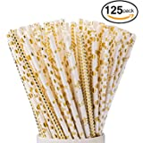 Paper Straws 125 PCS JIANFA-Food Grade Gold Foil Paper Straw Biodegradable Straw for Birthdays,Christmas, Weddings, Baby Showers, Celebrations and Parties