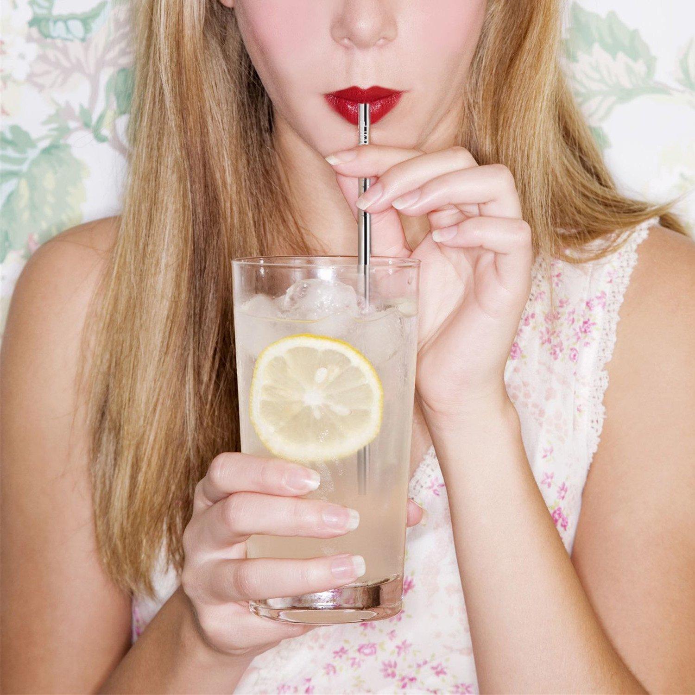 Edelstahl-Strohhalme FDA-zugelassen, GOMMLE Mehrweg-Metall-Trinkhalme, 10,5″/26,6cm Länge 0,24″/0,6cm Durchmesser, für Smoothies, Milchshakes, Cocktails und heiße Getränke mit 2 Reinigungsbürsten und Tragetasche (8er Pack)