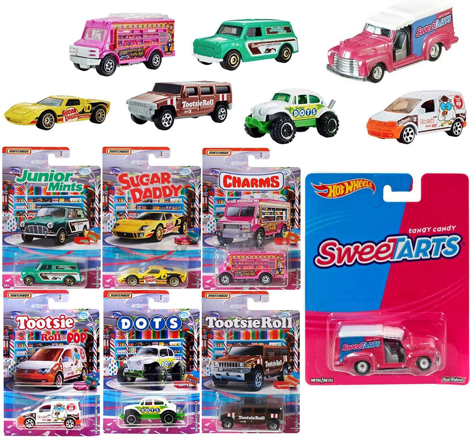Sweet Bites Racers Trucks and Cars Die-Cast Delivery Tarts pop Culture Bundled with Quick + Matchbox Volkswagen Dots Bug / Charms / Tootsie Roll SUV / Sugar Daddy Ford GT / Junior Mints Mini 7 Items