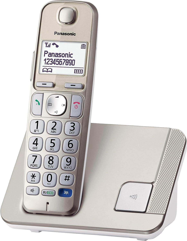Panasonic KX-TGE210 - Teléfono (DECT, Altavoz, 150 entradas, Identificador de Llamadas) Color Champán [Versión Importada]: Amazon.es: Electrónica
