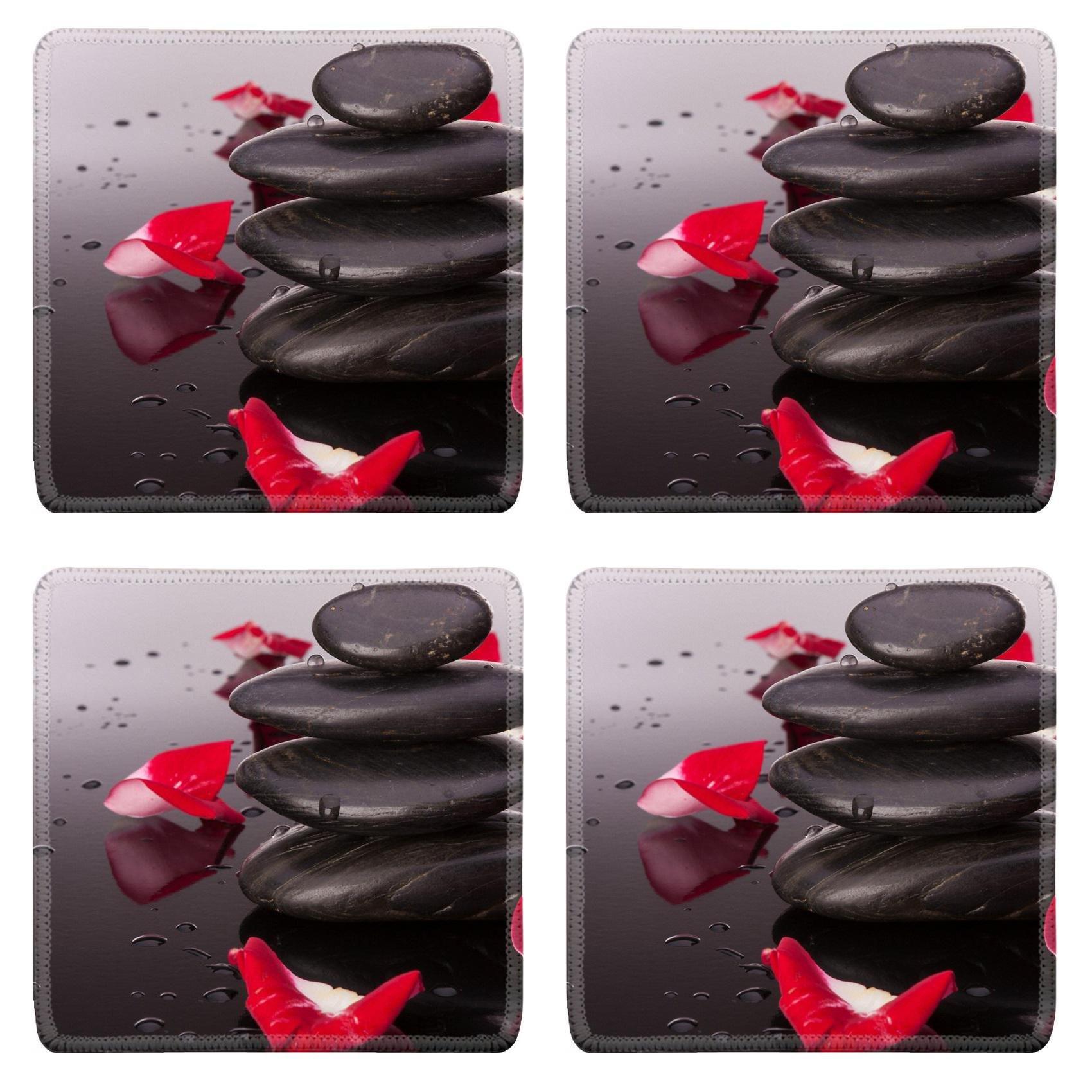 MSD Square Coasters Non-Slip Natural Rubber Desk Coasters design 25377294 Spa stone and flower petal still life Healthcare concept