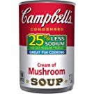 Campbell's 25% Less Sodium Condensed Soup, Cream of Mushroom, 10.5 Ounce (Pack of 12) (Packaging May Vary)