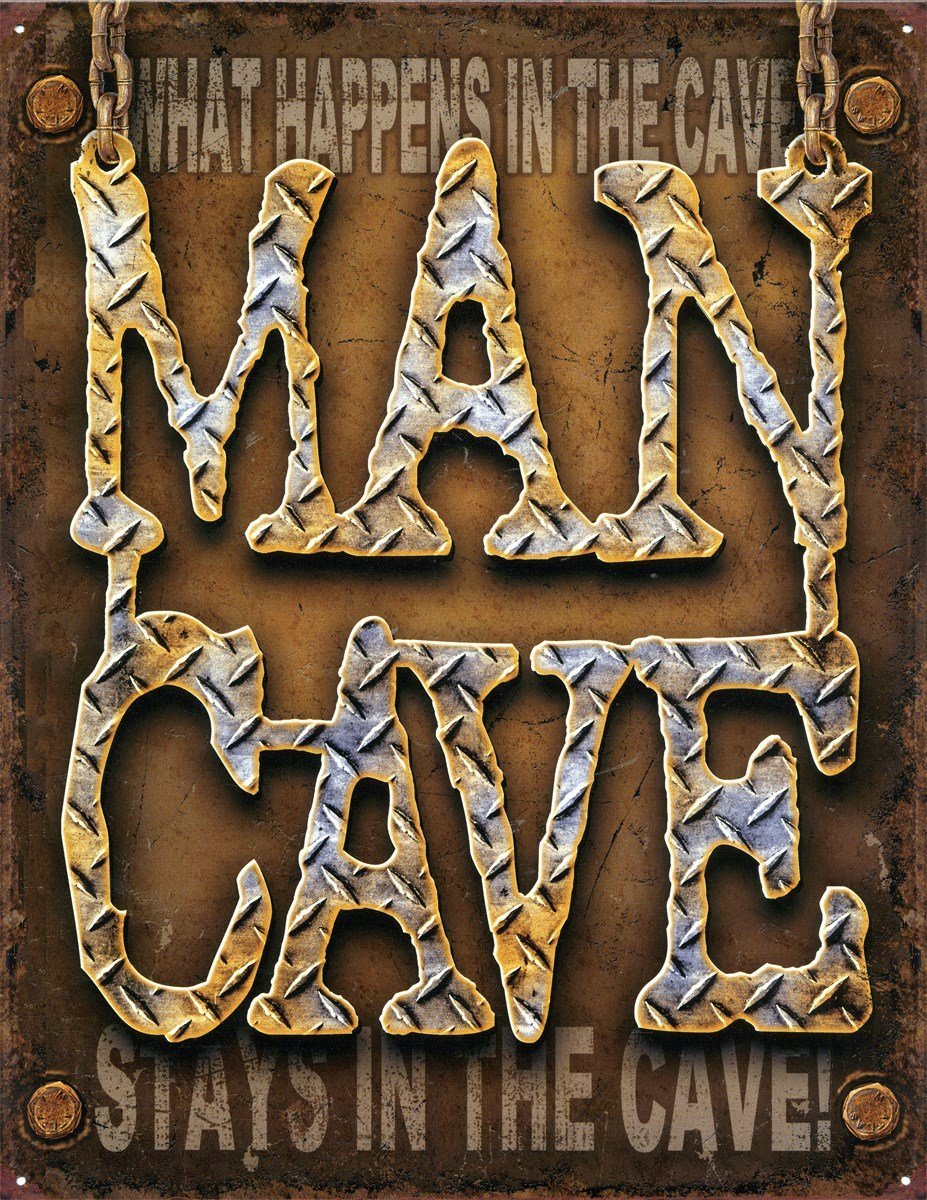 Desperate Enterprises Man Cave What Happens in The Cave Tin Sign, 12 by 16-Inch T1701