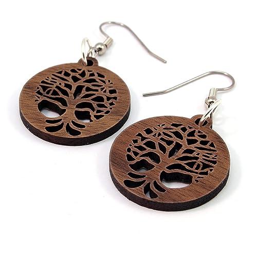 Tree Of Life Earrings Made Of Sustainable Walnut Wood Small Wooden Hook Dangle Drop Earrings