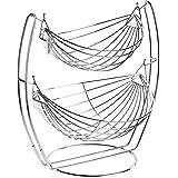 Chrome Double Hammock 2 Tier Fruit/Vegetables/Produce Metal Basket Rack Display Stand - MyGift