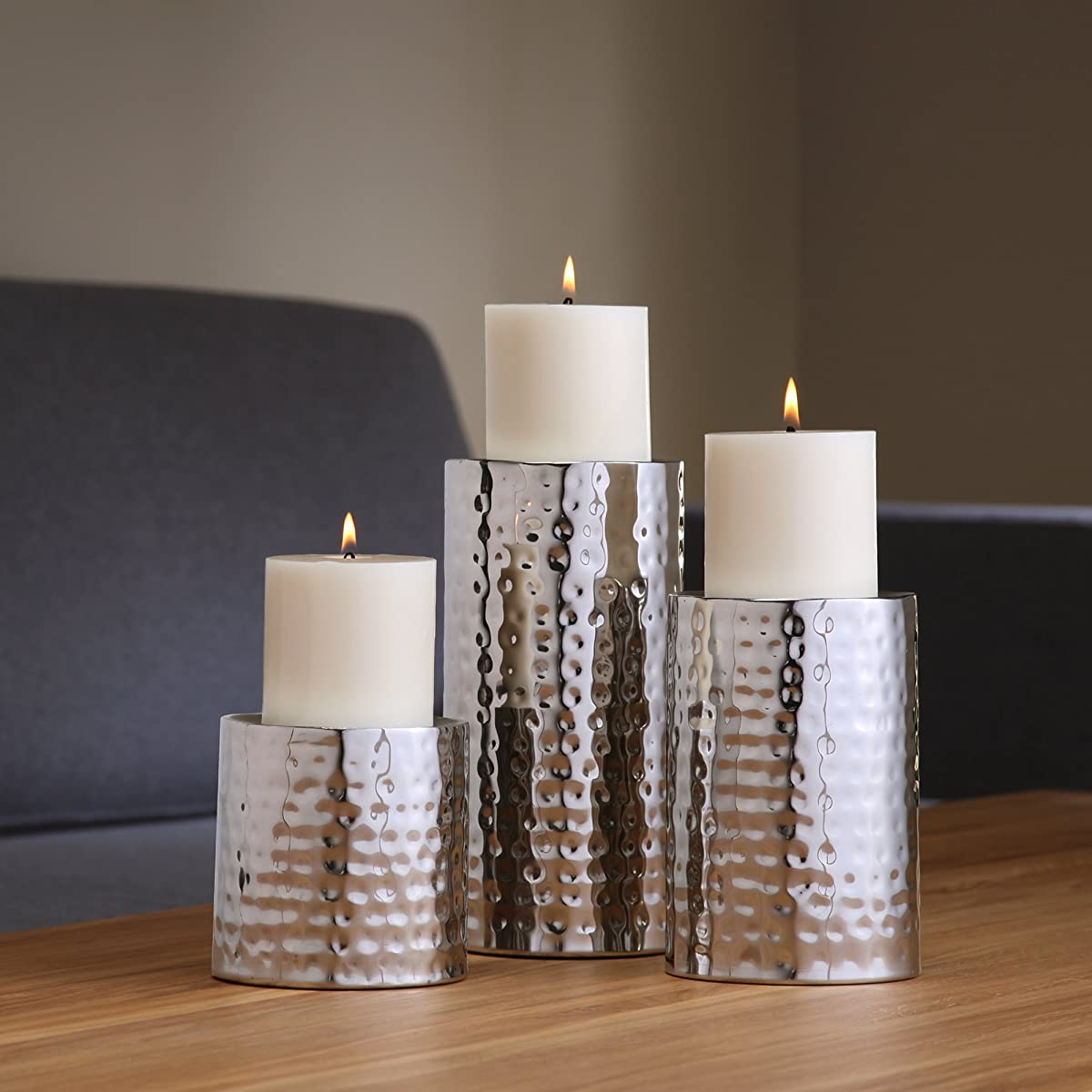 Hosley Silver Finish Pillar LED Candle Holders, Set of 3. Also usable as Vase Set of 3. Deal Gift for Wedding, Party Home, SPA, Aromatherapy, Reiki, Votive, Tea Light, Candle Garden O3