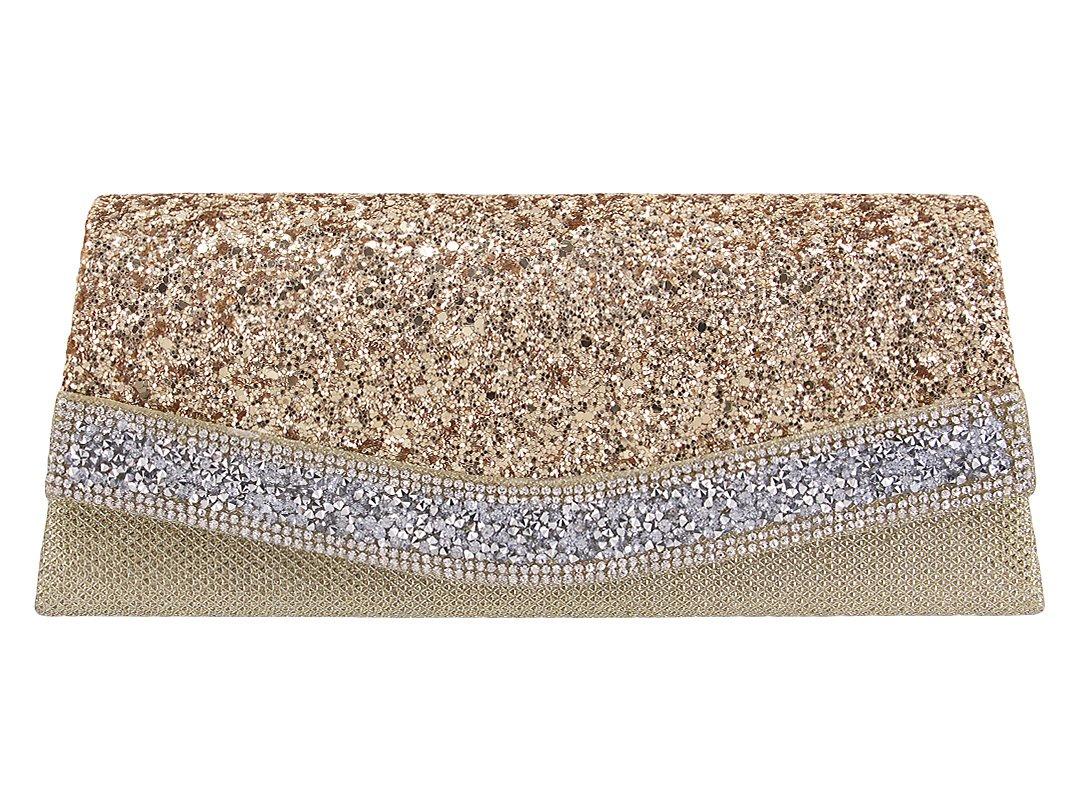 Gabrine Womens Evening Shoulder Bag Handbag Clutch Purse Shiny Sequins Rhinestone for Wedding Prom Party(Gold)