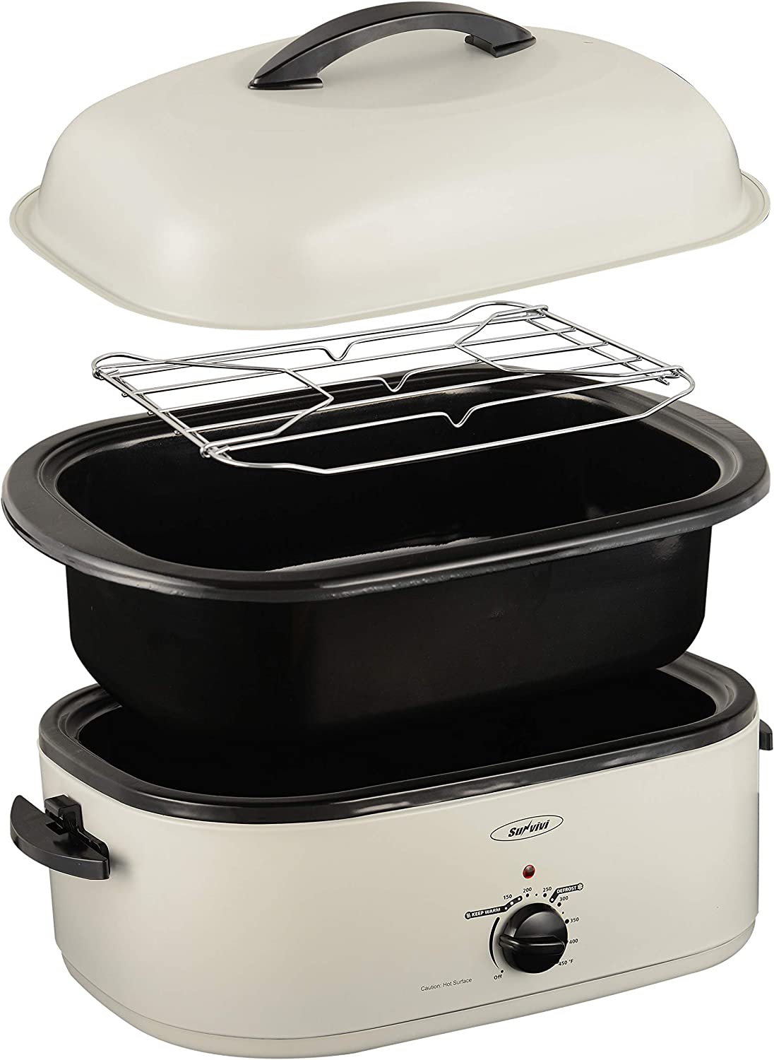Roaster Oven Electric, Roaster Oven 18 Quart with Self-Basting Lid, Turkey Roaster Oven with Removable Pan and Rack, Adjustable Temperature Control Powerful 1450W Stainless Steel Roaster Oven, White