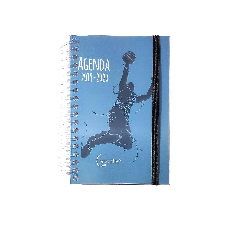 Agenda Escolar 2019-2020 con tapa plastico formato pequeño 120x160 mm español (Baloncesto)