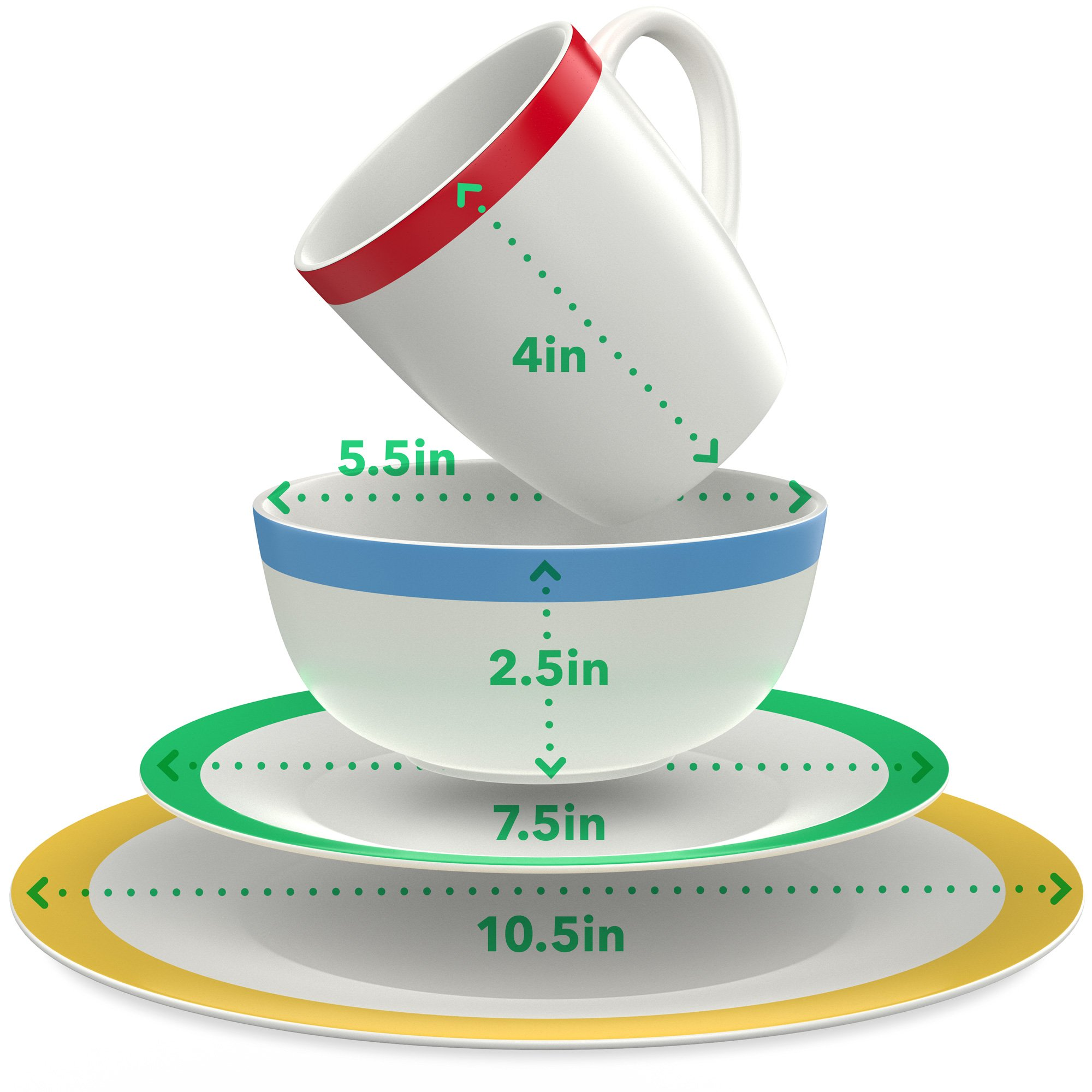 Vremi 16 Piece Dinnerware Set Service for 4 - Round Porcelain Dinner Plates Bowls Mugs and Dessert Dishes - Casual White Dinnerware with Colored Stripe Trim - Microwave and Dishwasher Safe by Vremi (Image #2)
