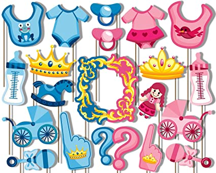 Amazoncom Prince Or Princess Gender Reveal Photo Booth Props Kit