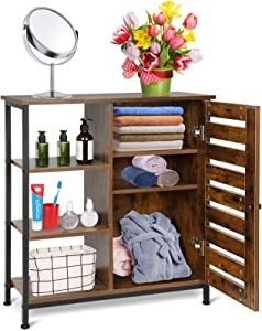 Wooden Bathroom Cabinet, Free Standing Bathroom Storage Cabinet Floor Storage Cabinets Kitchen Cupboard with Doors and 3 Shelves or Home Office Bedroom Living Room, Rustic Brown