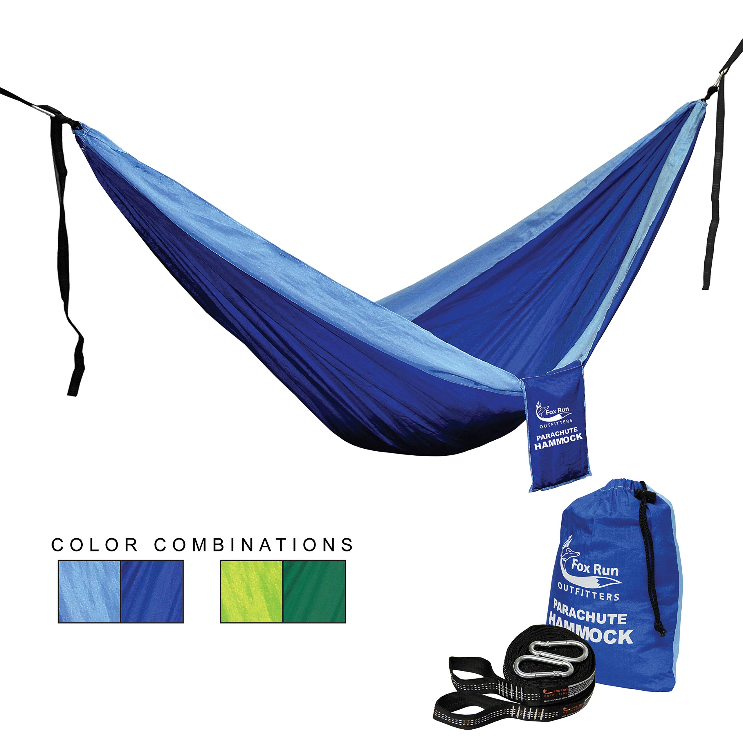 Single or Double Parachute Hammock – SLEEP LIKE A BABY Lightweight for Camping, Hiking, Backpacking, Backyard Adventures - FREE HANGING STRAPS - by Fox Run Outfitters by Fox Run Outfitters