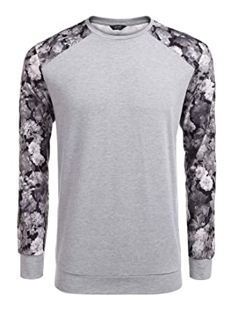 Coofandy Men s Fashion Floral Long Sleeve Baseball T-Shirts Casual Jersey  Sweatshirt Gray Small cb67f38f6
