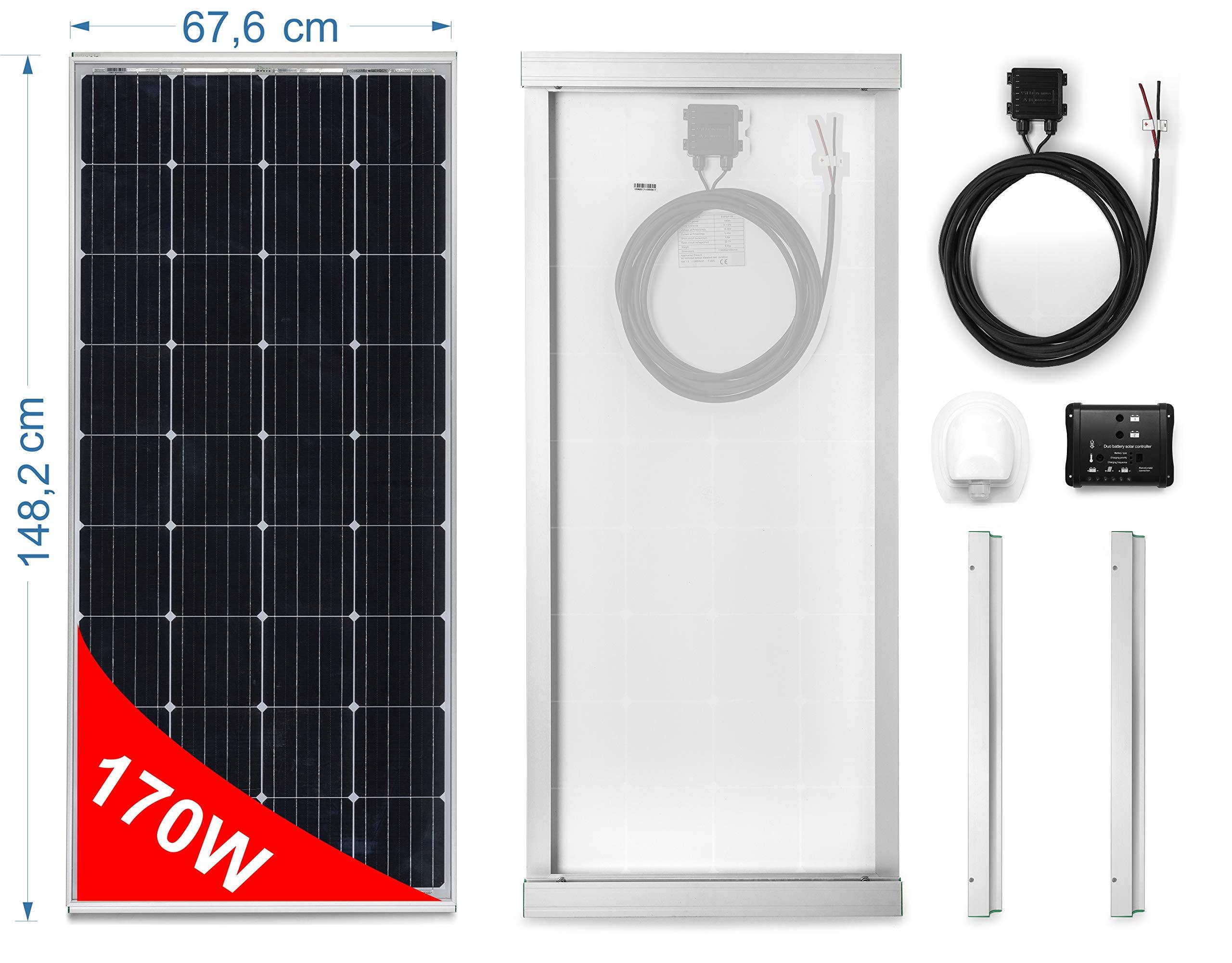 Panel Solar 170W monocristallino para Camper. Kit completo de accesorios para el montaje y de