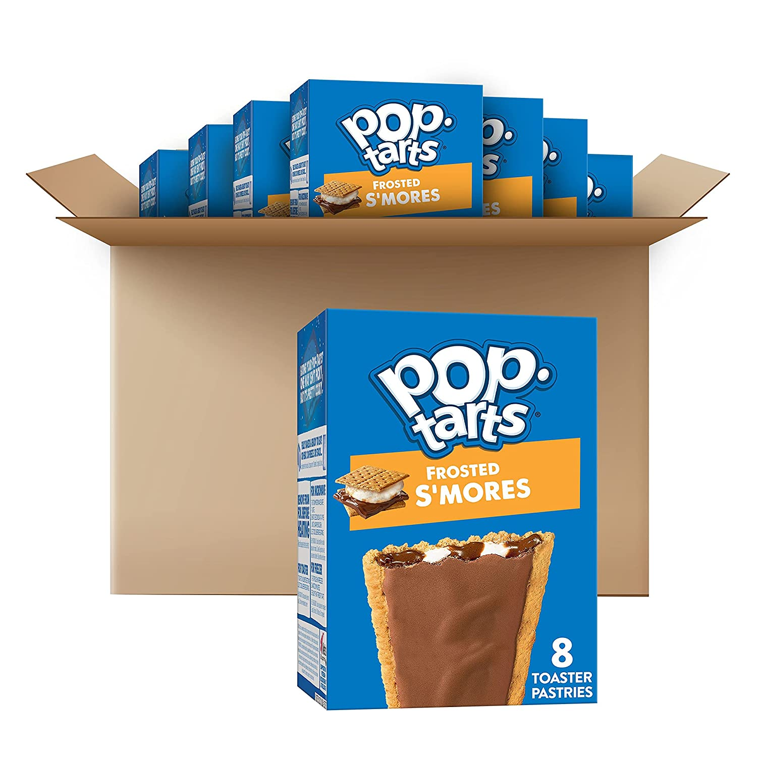 Kellogg's Pop-Tarts Frosted S'mores Toaster Pastries - Fun Breakfast for Kids, 13.5oz Box (Pack of 8)