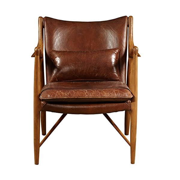PulaskiHome Comfort Collection Anderson Wood Frame and Leather Accent Arm Chair, Large