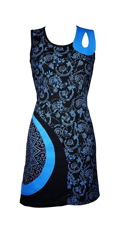 Wunderschönes Sommer Kleid mit grafischen All-Over Muster und einzigartigen Details - AGNI (türkis)