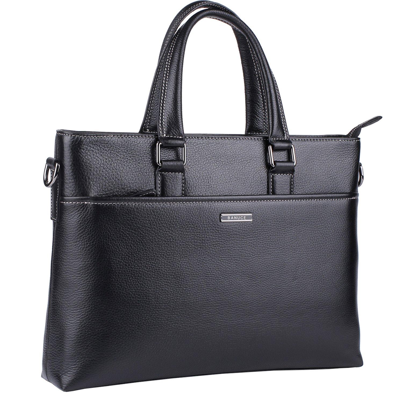 Banuce Genuine Leather Briefcase for Men Women Shoulder Messenger Bag Executive Bussiness Tote Laptop Bag by Banuce (Image #1)