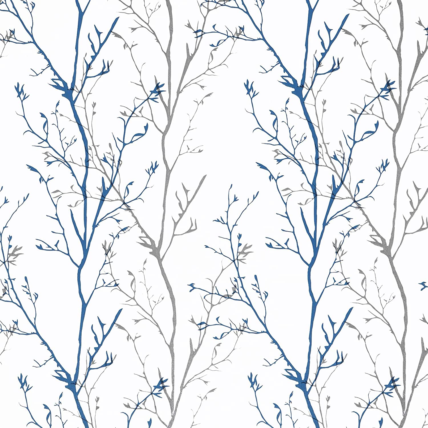 """Melwod Grey Blue Tree Branches Peel and Stick Contact Paper 17.71"""" x 78.7"""" Modern Tree Branch Removable Wallpaper Natural Wall Paper Self-Adhesive Vinyl for Drawer Liner Furniture Crafts Accent Walls"""