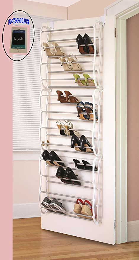 Amazon.com Over The Closet Shoe Storage Rack. Can Also Be Wall Mounted. Shoe Storage Units Solution. Racking Organizer Idea. Instant Wardrobe Closet Space. & Amazon.com: Over The Closet Shoe Storage Rack. Can Also Be Wall ...