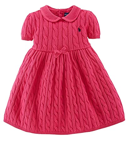 65f9570ced40 Amazon.com  Ralph Lauren Girls Pink Cable Knit Sweater Dress (24 ...