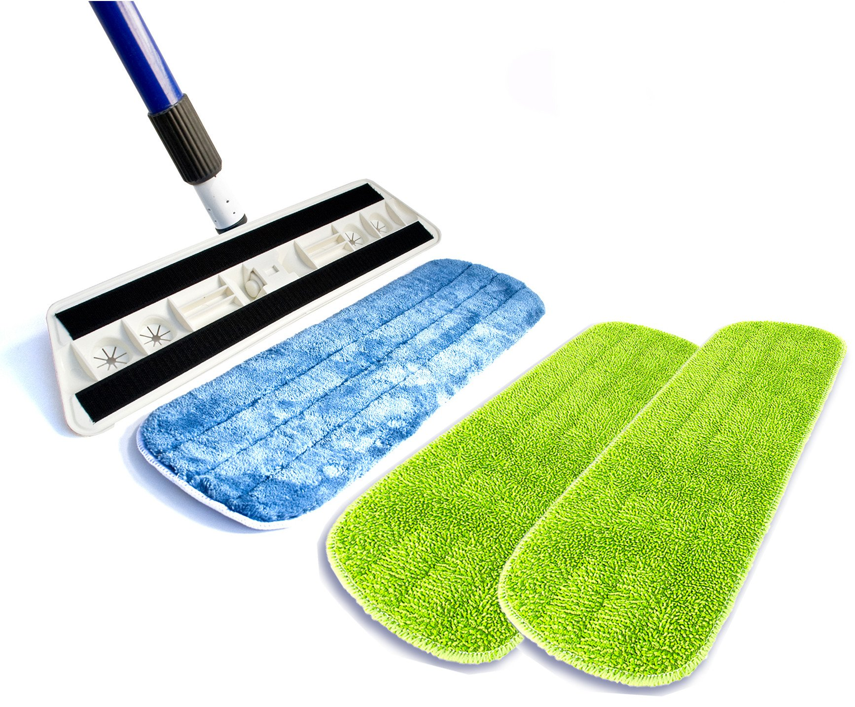 Kitchen + Home Professional Microfiber Mop – 2 Washable Reusable Wet Mop Pads and 1 Bonus Dry Dust Mop Pad Refill Included by Kitchen + Home