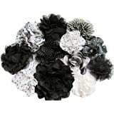 Off white 2.5 chiffon eyelet butterfly fabric flower for wedding decorations and craft supplies DIY baby headband and hair bows