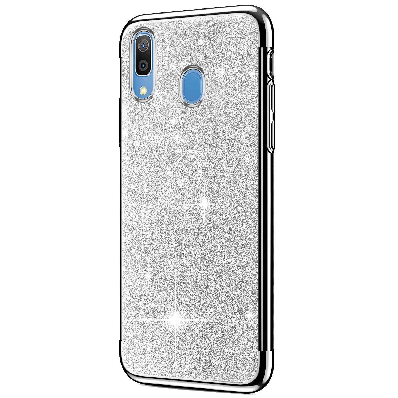 Hpory Compatible avec Samsung Galaxy A20 Coque Housse Etui Silicone Souple Soft Slim Housse de Protection /Él/égant Paillettes Brillante Bling Antichoc Etui TPU Silicone Case,Noir