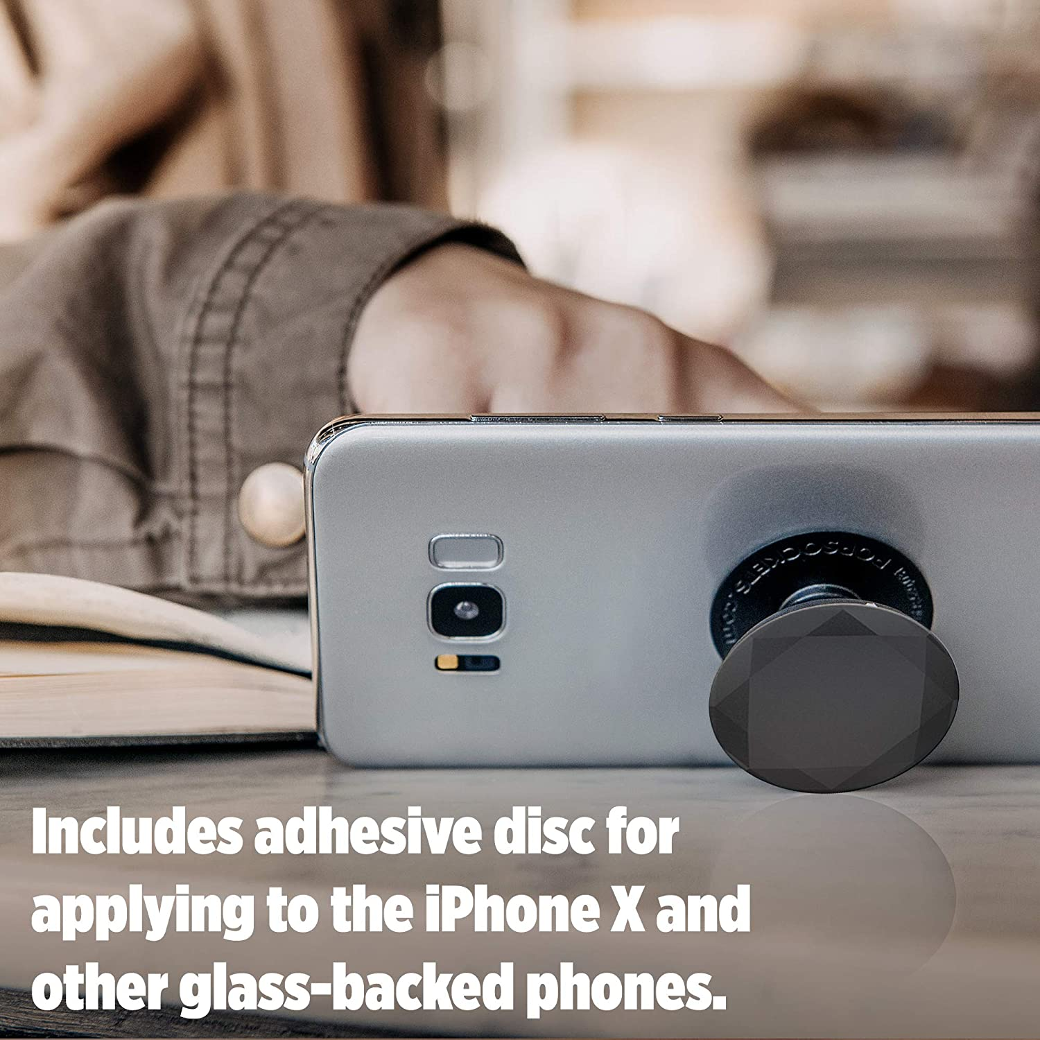 Collapsible Grip /& Stand for Phones and Tablets Black Metallic Diamond PopSockets