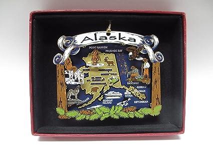 abf71dae9d Nations Treasures Alaska State Brass Ornament Travel Vacation Souvenir