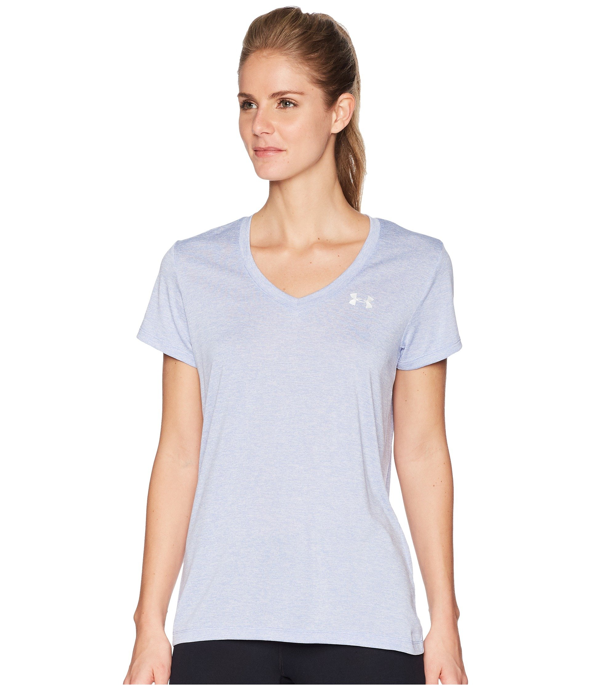 Under Armour Women's UA Tech¿ Twist V-Neck Talc Blue/Metallic Silver Small by Under Armour (Image #3)