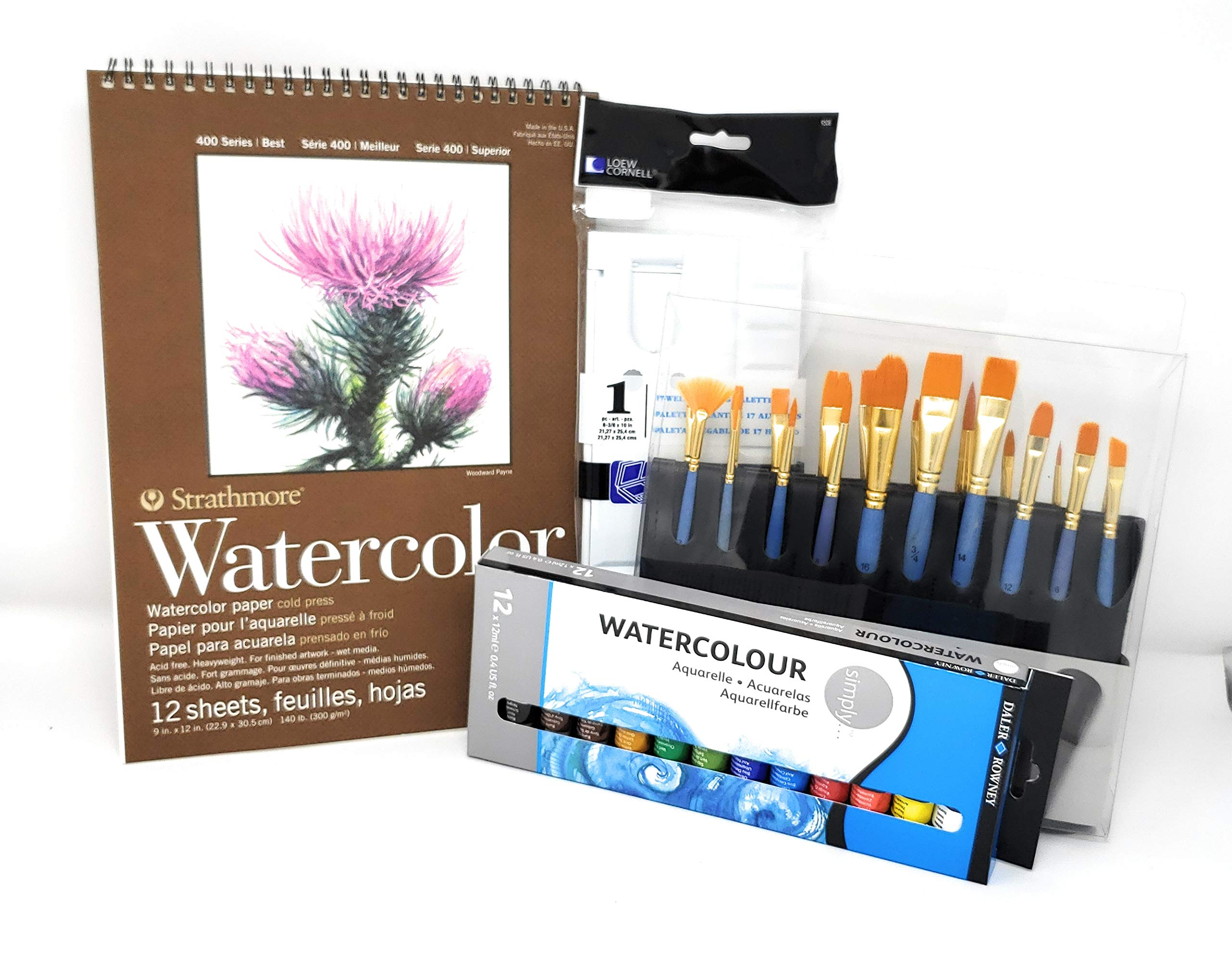 Strathmore Watercolor pad Bundled with Artists Loft Watercolor Brushes, Loew-Cornell Plastic Folding Palette and Daler-Rowney Watercolor Paint by SNY