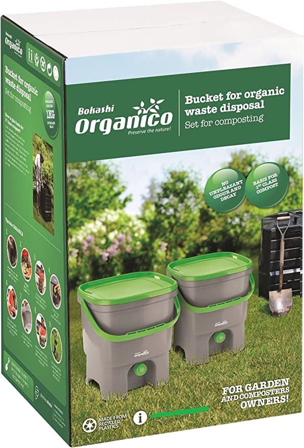 Starterset mit Fermentationsaktivator Bokashi Organko 1 kg Grau-Gr/ün 2X Garten- und K/üchenkomposter aus Recyceltem Kunststoff Skaza Bokashi Organko Set 2 x 16 L