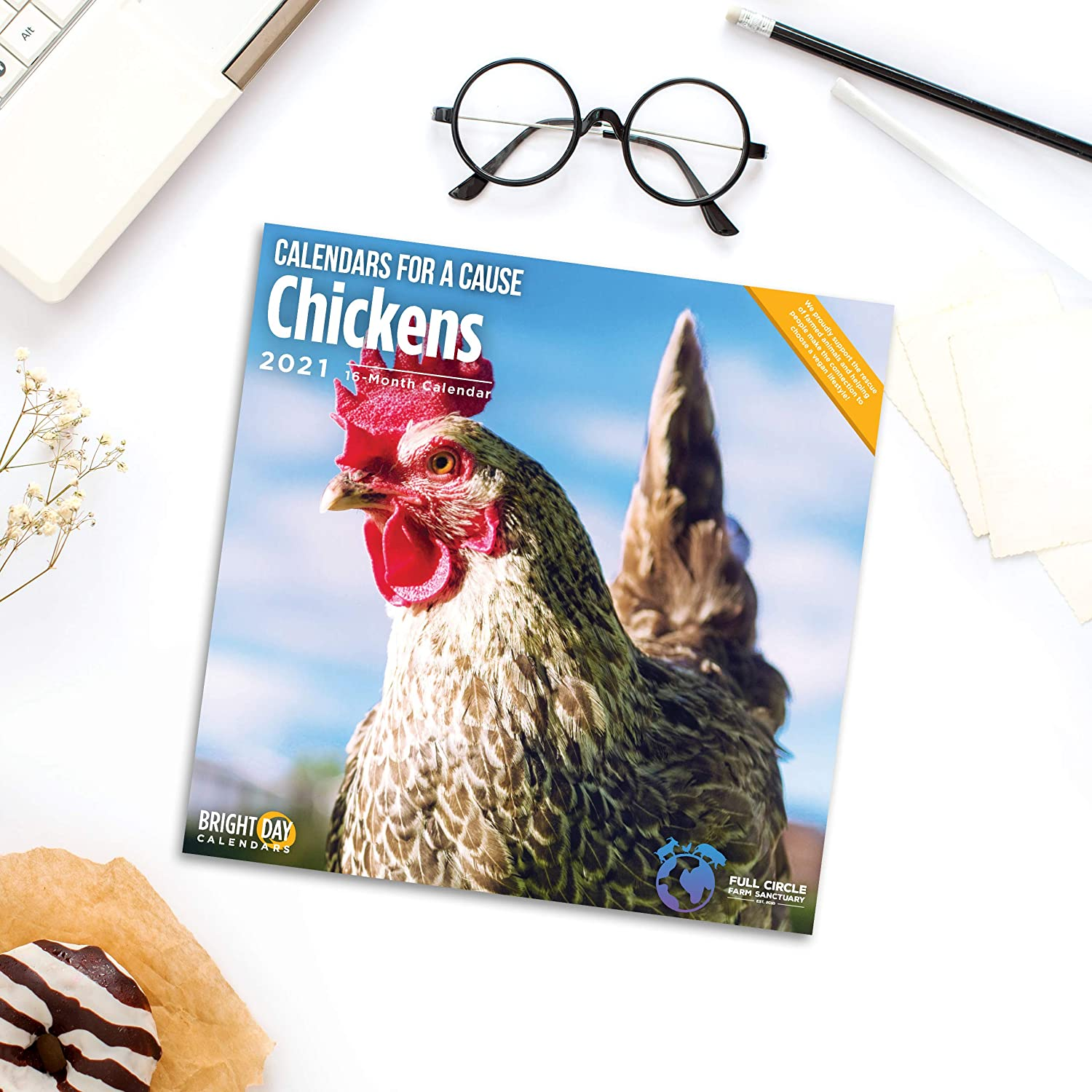 2021 Chickens Wall Calendar by Bright Day, 12 x 12 Inch, Farm Animals Calendars for Cause Collection