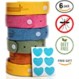Comfort Road Mosquito,Insect,Bug Repellent Bracelets, Individually-Wrapped Wrist Bands (6 pack), Plus 18 BONUS Patches - Natural Ingredients, Deet-Free, Kid/Pet-Safe