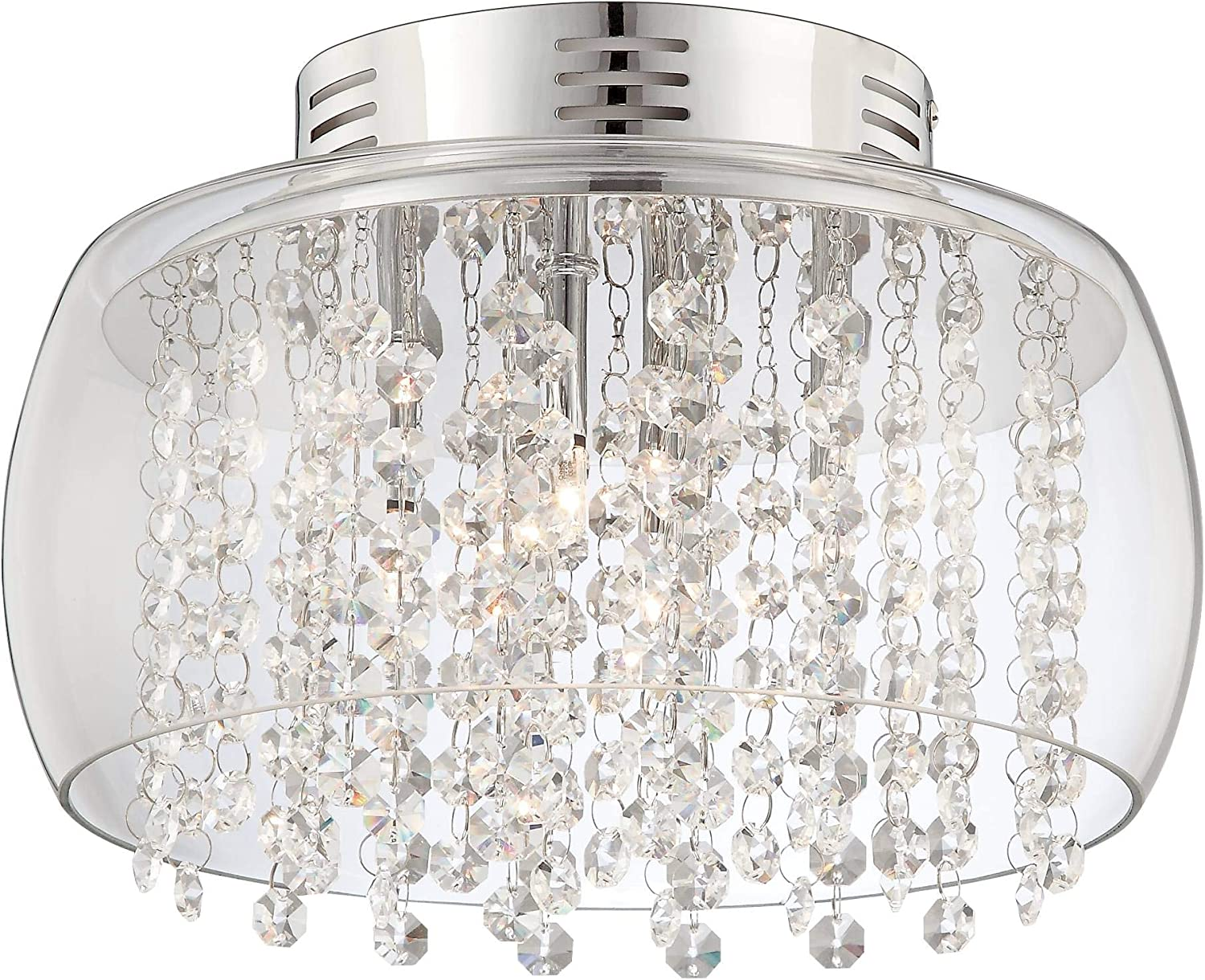 Crystal Rainfall Contemporary Modern Ceiling Light Flush Mount Fixture Chrome 11 Wide Clear Glass Drum Shade For House Bedroom Hallway Living Room Bathroom Dining Kitchen Possini Euro Design Flush Mount
