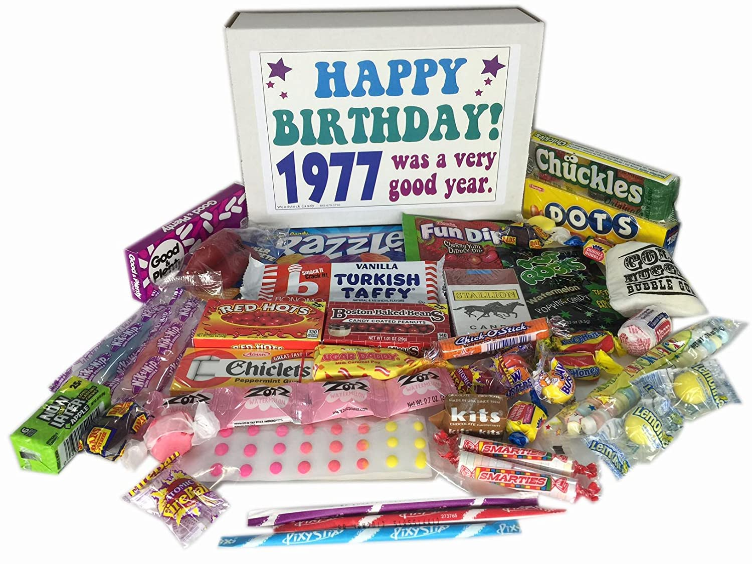 1977 40th Birthday Gift Basket Box Retro Nostalgic Candy