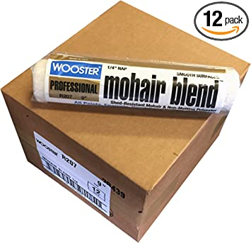 Wooster Brush R207-9 Mohair Blend Roller Cover 1/4-Inch Nap, Pack of 12