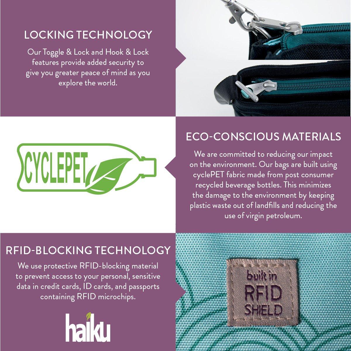 Haiku Women's Jaunt Eco Crossbody Handbag, Black Juniper