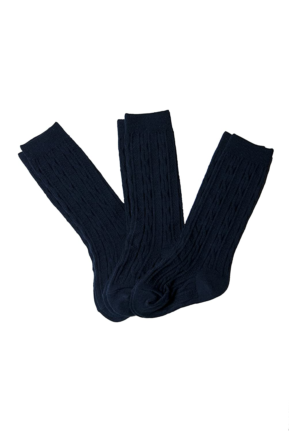3 Pack French Toast Big Girls Uniform Cable Knee High Socks