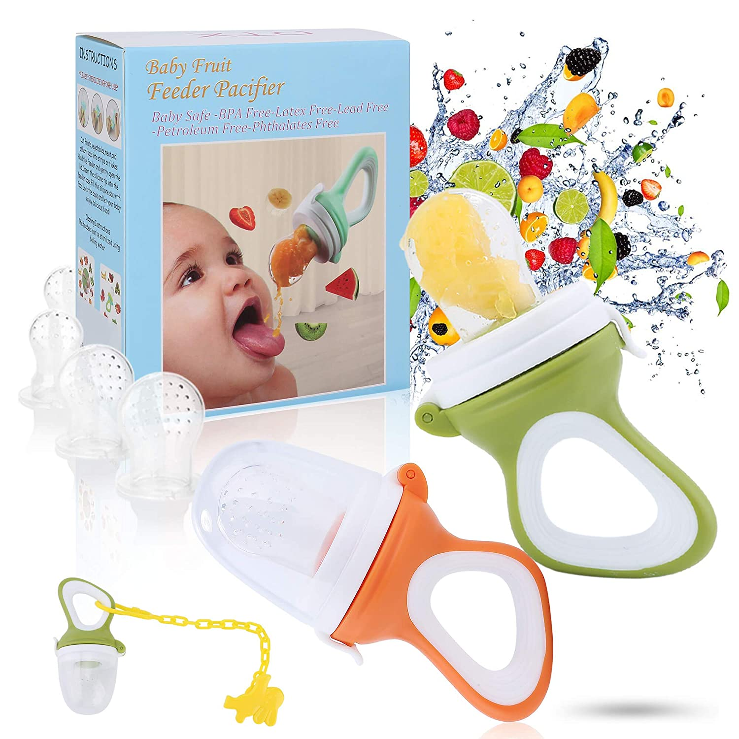 Baby Fruit Feeder Pacifier - Baby Food Feeder Fresh Food Feeder Infant Fruit Teething Toy, 2 Pack with 6 Silicone Sac and 1 Pacifier Clip (Army Green & Orange)