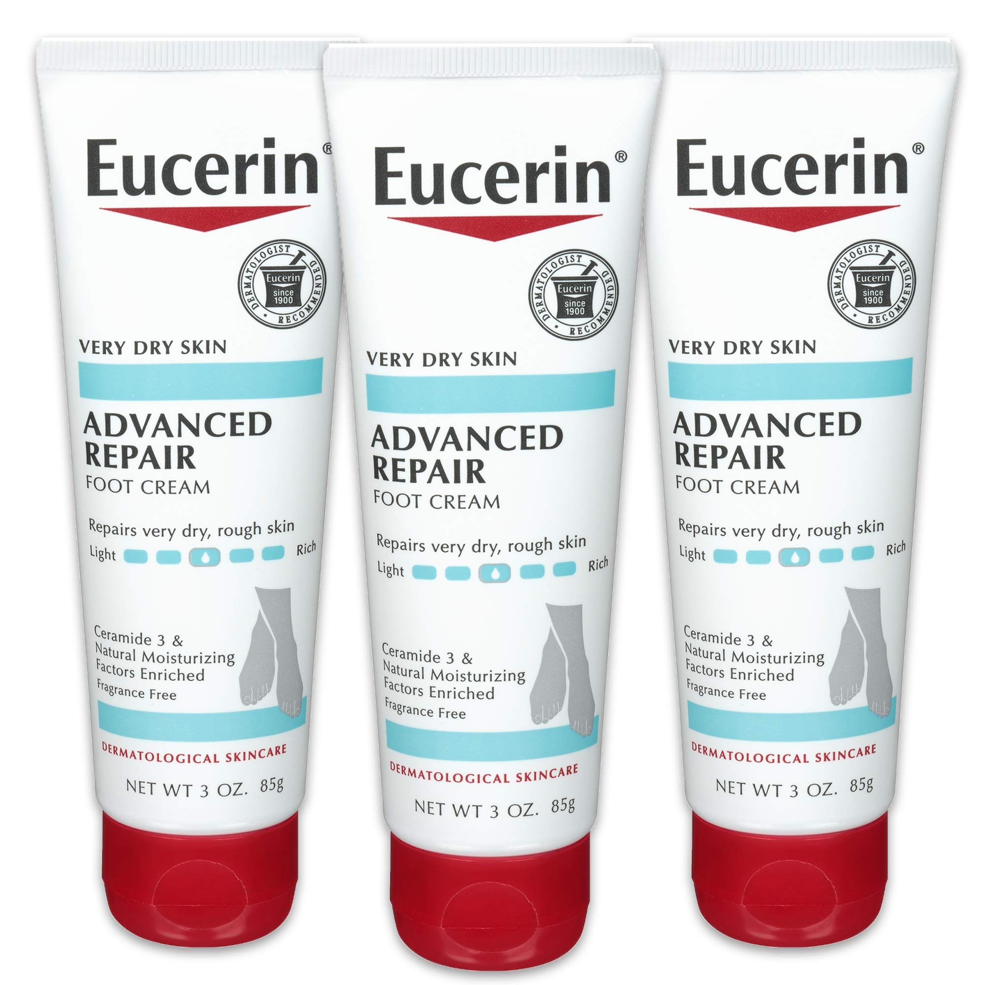 Eucerin Advanced Repair Foot Cream - Fragrance Free, Foot Lotion for Very Dry Skin - 3 oz. Tube (Pack of 3) by Eucerin