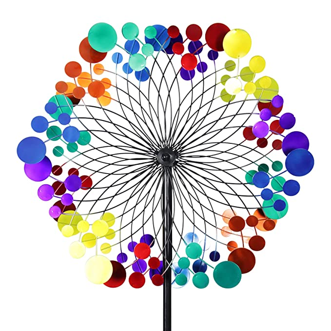 Exhart Yard Pinwheel Decorations– Metallic Rainbow Pattern Wind Spinner – Garden Windmill w/ 2 Spinner Wheels, Weather Resistant Kinetic Art for Incredible Garden Décor (24