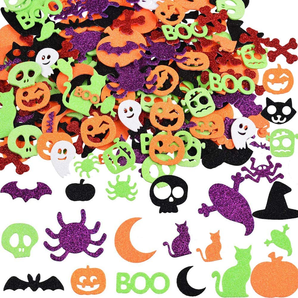 Halloween Glitter Foam Craft Stickers, 500 Pcs Self-Adhesive Party Supplies Decoration with Cat Ghost Pumpkin Decor Craft Projects for Adults Kids Children Toddlers