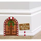 Elf Door Fairy Door Sticker Set with Magical Elf Doorway and North Pole Sign by Ellis Graphix (TM)