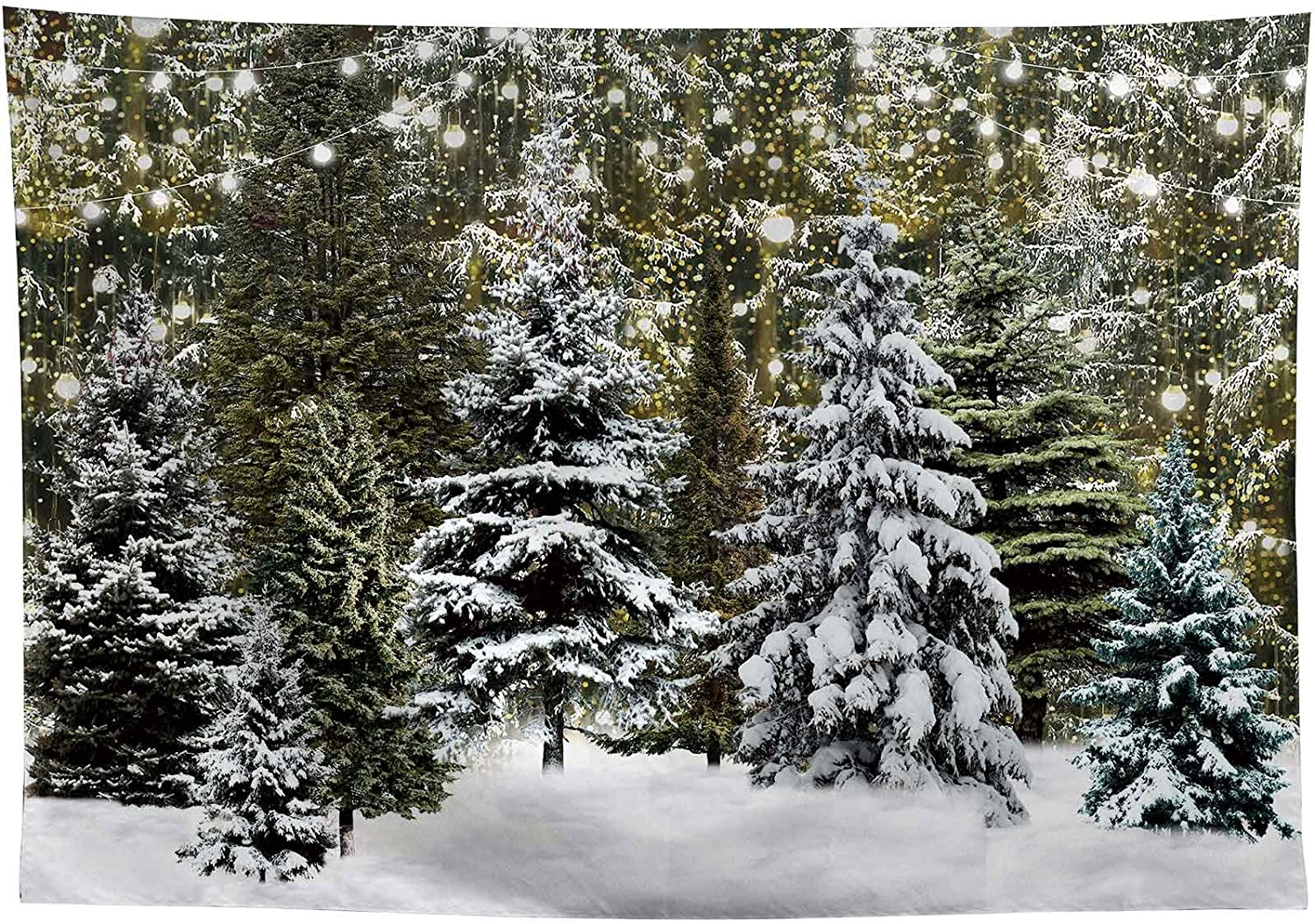 Allenjoy 8x6ft Winter Forest Landscape Photography Backdrop Nature Scenery Glitter Snowflake Pine Trees Background for Christmas Happy New Year Party Decor Banner Portrait Photo Booth Props