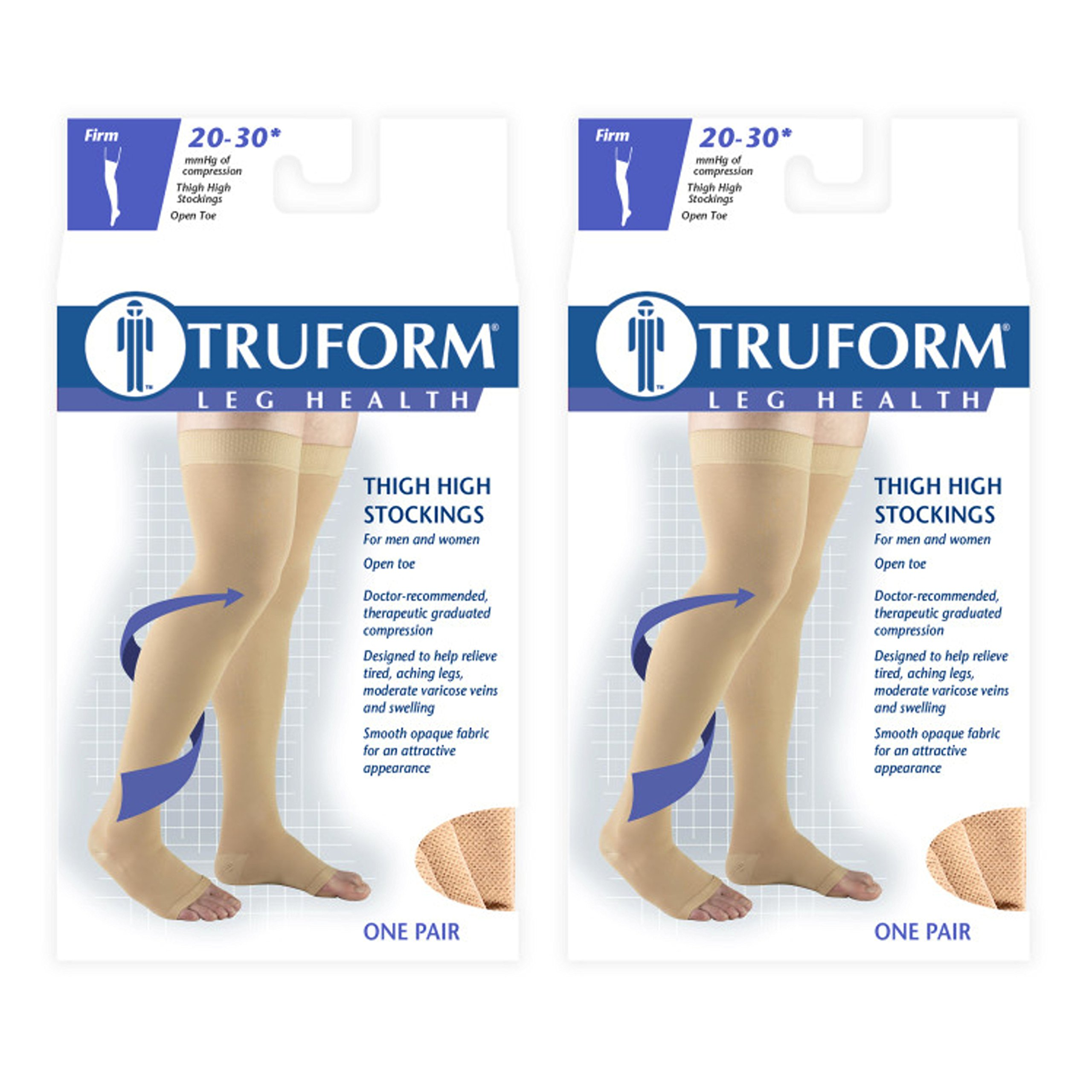 Truform Compression 20-30 mmHg Thigh High Open Toe Dot Top Stockings Black, X-Large, 2 Count