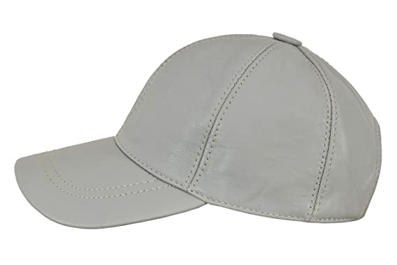 b8a509eb90388d Leather Baseball Cap Adjustable Strap Peak Hat Unisex Trucker Hip-hop  Lambskin (Light Grey): Amazon.co.uk: Clothing