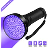 Hinmay UV Blacklight Flashlight, Super Bright 100 LED # 1 Best Powerful Black Light Flashlight 395NM Ultraviolet Urine Detector Flashlight for Home & Hotel Inspection, Pet Urine & Stain Detection